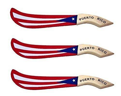 - Meditation Equipment Lot of 3 Puerto Rico Flag Wood Machete (22