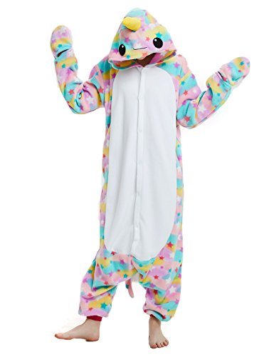 cosMonsters Adult Narwhal Animal Onesie Pajamas for Girls and Boys Christmas Cosplay Costume(Multicolored,Small)