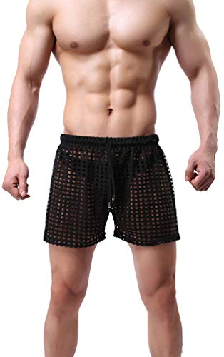 Linemoon Men's Mesh Shorts Sexy Lounge Hollow Boxer Underwear Black, - Mesh Large Extra Sexy