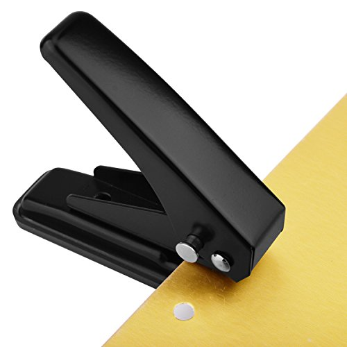 """MROCO Low Force 1-Hole Punch, 20 Sheets Punch Capacity, 1/4"""" Holes, Hole Puncher, Paper Punch Hand Punch with Skid-Resistant Base for Paper, Chipboard, Thin Metal, Craft Paper and Art Project, Black"""