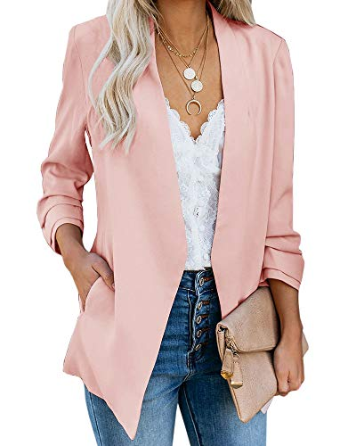 Ofenbuy Womens Casual Blazer Ruched 3/4 Sleeve Open Front Relax Fit Office Lightweight Cardigan Jacket Blazers (Large, Light Pink)