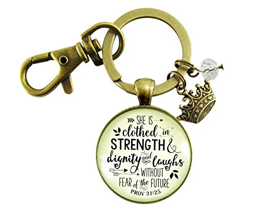 (She is Clothed in Strength and Dignity and Laughs Women's Keychain Proverbs 31 25 Christian Crown Charm)