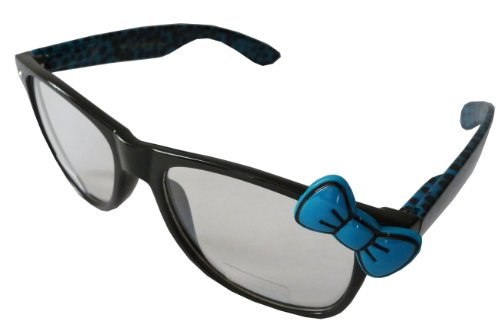 Sanrio Hello Kitty Cheetah Print Style Designer Inspired Wayfarer Perscription Clear Lens Glasses - Black/Blue with Blue - Print Ray Cheetah Bans
