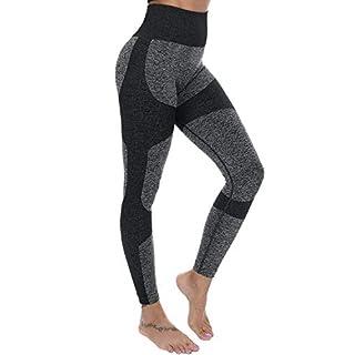 Lesfin Womens Sport Leggings High Waisted Yoga Pants Butt Lift High Waist Seamless Running Workout Athletic Tight L Black