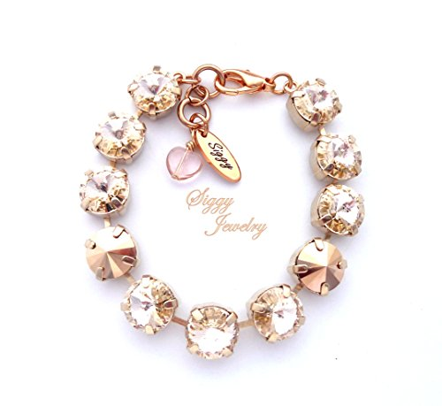 Swarovski® Crystal Tennis Bracelet, 10mm Size Chunky Pointy Top Rivolis, Silk, Rose Gold, Assorted Finishes, Gift Packaged