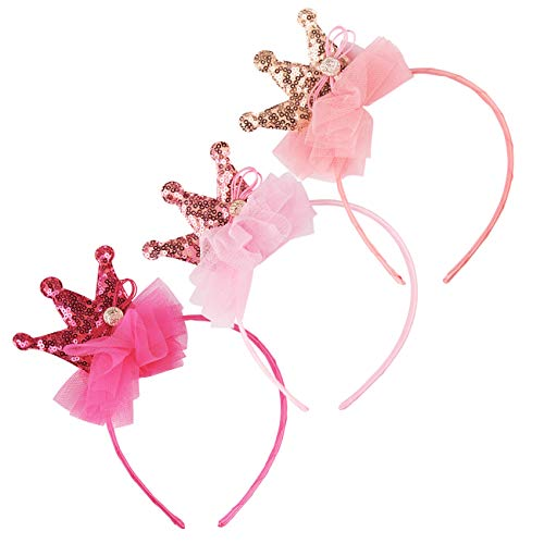 Candygirl Sequin Sparkling Tiara Crown Girls Headbands Party Favor Headbands Birthday Girl Princess Sequin Hairbands (3 pcs Headbands)]()