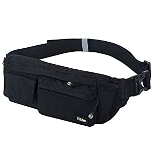 EOTW Fanny Pack Belt Bag Waist Pocket Travel Pouch Sports Cell Phone Holder Outdoor Money Belt Workout Running Belt Pack For iPhone 7 6S 6 Plus 5 Galaxy S6 S4 S5 S7 Edge Note 5 4 3 LG G3 G4 G5 Black