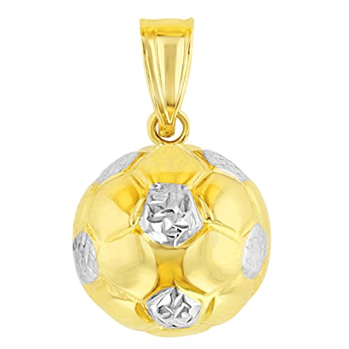 JewelryAmerica 14K Yellow Gold Soccer 3D Ball Charm Futbol Sports Pendant High Polish ()