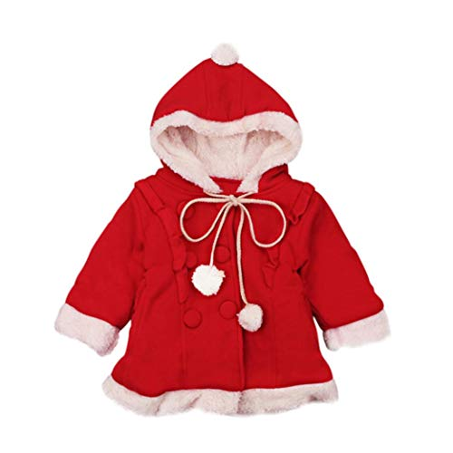 Christmas Children Kids Long Sleeve Hooded Cloak Jacket Warm Plus Velvet Thick Coat Cape Red Overcoat Snowsuit (Red, 5T(4-5 Years))