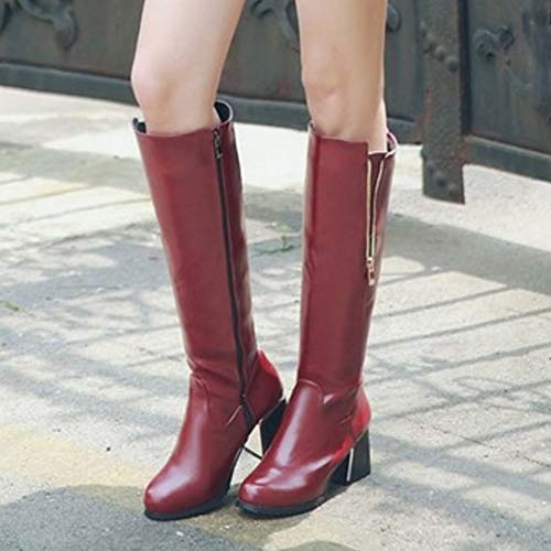 Zip Heel Women Boots Long Block Fashion Coolcept Claret qYwT64g