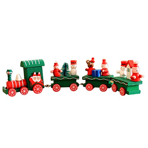 - OULII Cute Wooden Mini Train Ornaments Kids Gift Toys for Christmas Party Kindergarten Decoration (Green)