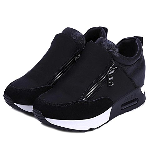 Wenjuan Women Fashion Sneakers Sports Running Hiking Thick Bottom Platform Comfortable Soft Leather Shoes (8, Black) from Wenjuan
