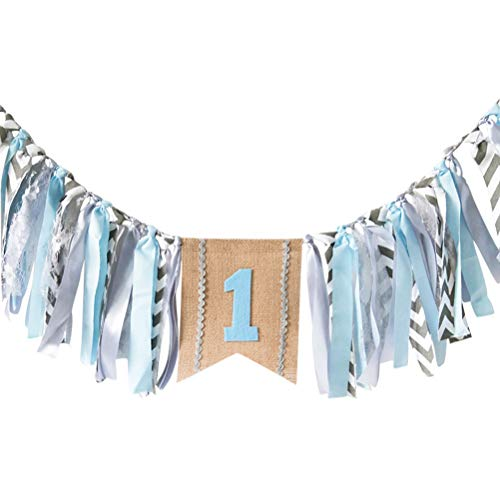 - Sunnyillumine HighChair Banner for 1st Birthday of Boys - Elegance Macaron Blue Stripes First Birthday Decoration Banner for Photo Booth Props, Birthday Souvenir and Gifts, Best Party Supplies