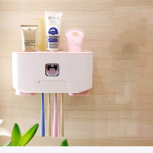 Double Sided Tab Dispenser - Yezijin Toothbrush Holder Squeeze Toothpaste Storage Couple Cup Set Wall Hanging Box (Pink)