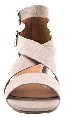 Cambridge Selezionare Donna Open Toe Crisscross Strappy Svasato Chunky Grosso Blocco Tallone Sandalo Taupe Imsu