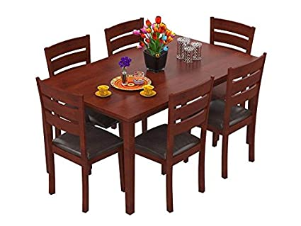 Forzza Kyoto Six Seater Solid Wood Dining Table Set Oak