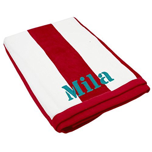 - The Wedding Party Store Premium Personalized Striped Cabana Beach Towel 35