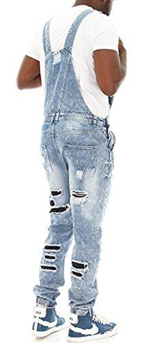 [해외]Imperious Men 's Rip and Repair 데님 전체 조깅 용 바지 - 라이트 블루 - XL/Imperious Men`s Rip and Repair Denim Overall Jogger Pants-Light Blue-XL