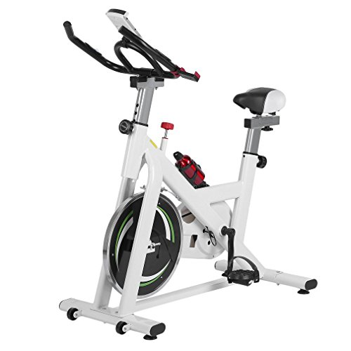 Pro Indoor Cycling Bike,Exercise Bike Deluxe Club Revolution Cycle– Stationary Bicycle with Flywheel, Pulse, Water Bottle and Transport Wheels