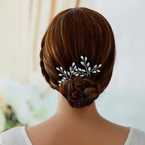 Brishow Wedding Hair Pins Silver Crystal Bridal Hair Pieces Hair Accessories for Women and Girls(Set of 2) (Brooch Gold Flower Tone Rhinestone)