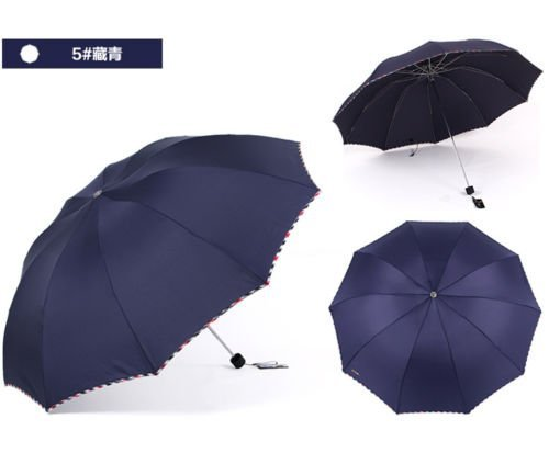 Blue Fold Umbrella Mens Womens Rain Umbrella Windproof Anti-Uv Parasol by Umbrella Compact