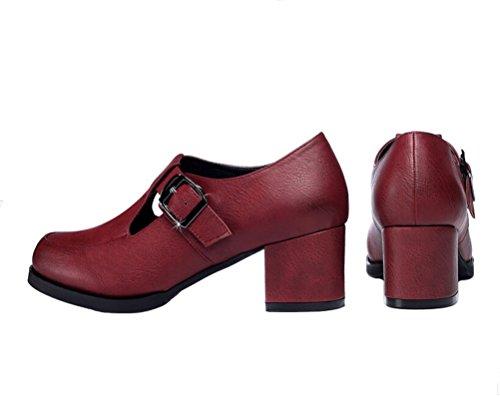 Guciheaven Kvinnor Mode Gå Sko Vintage Låg Topp Mary Jane Sko Röd