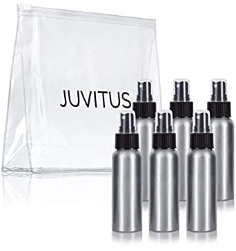 7dd119a3ecc0 Aluminum Refillable Travel Spray Bottle Mister - 2.7 oz (6 Pack) + Travel  Bag