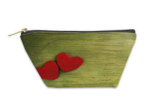 Gear New Accessory Zipper Pouch, Two Red Hearts On An Impressive Green Wooden, Large, 2878338GN by Gear New