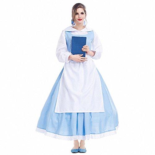 Adult Womens Movie Belle Blue Maid Dress Halloween Cosplay Costume