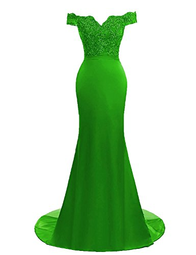 Lace Mermaid AIJIAYI Dresses Evening Shoulder Prom Long Gowns WJ1010 Women's Formal Sparkly Bead Off xYwaqwT0U