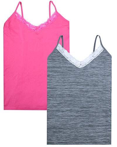 - Sweet & Sassy Girls\' Seamless Undershirt Camisole Tank Top with Lace Trim (2 Pack), Grey/Pink, Size Large - 14/16'
