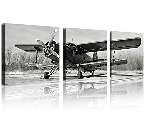 Framed Vintage Picture (QICAI Black and White Vintage Airplane Wall Art Vintage Airplane Decor Old Paper Airplane Pictures Canvas Airplane Wall Art Stretched and Framed Aircraft Pictures Artwork for Home Decor,3 pcs/set)
