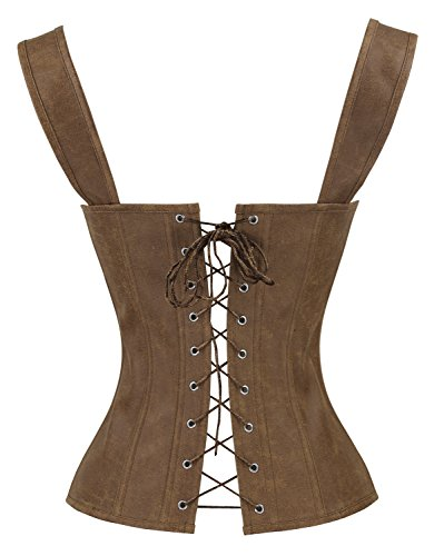 Lace Bustier Up Marrone Vintage Charmian with Renaissance Boned Garters Corset Women's SqqT6