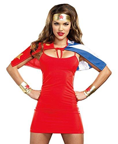 Dreamgirl 8346 Superwoman Superhero Halloween Costume Kit - One Size - Red (Superwoman Costumes For Girls)