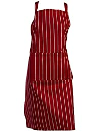 100% Cotton Woven Striped Butchers Kitchen Cooks Apron with Pocket