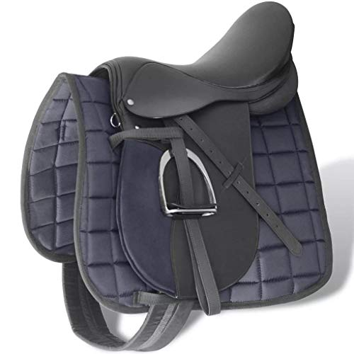 Festnight 5 in 1 Horse Riding Saddle Set 17.5 Inch Real Leather Western Pleasure Trail Show Saddle Gullet (Channel) Size 7.1″ with Saddle Blanket,Stirrups,Stirrup Belts,Girth Black