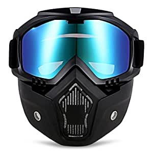 AUTOLOVER MT - 009 Motorcycle Goggles Mask, Motorcycle Goggles with Detachable Mask Mouth Filter Adjustable Non-slip Strap, Harley Style (COLORFUL)