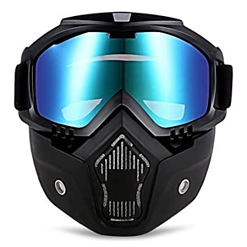 AUTOLOVER MT - 009 Motorcycle Goggles Mask, Motorcycle Goggles with Detachable Mask Mouth Filter Adjustable Non-slip Strap, Harley Style (COLORFUL) 2157109-HSX-CA