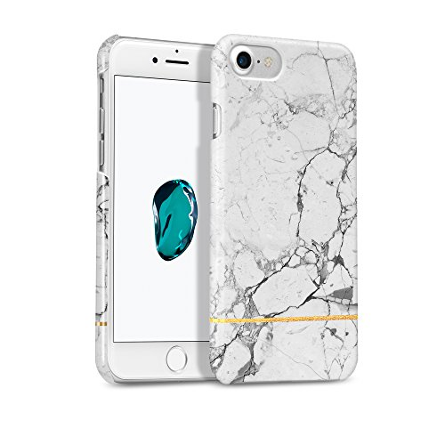 GMYLE Marble iPhone 7 Case Gold, Marble iPhone 8 Case Gold, [Gold Accent][White Gold Marble] Slim Glossy Hard Cover Case - Ultra Low Profile