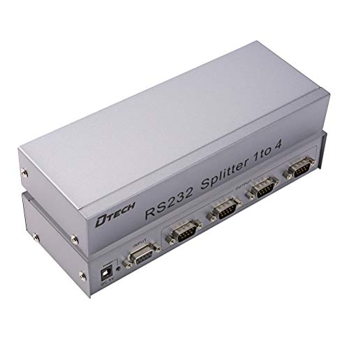 - DTECH 4-Port RS232 Serial Splitter Box COM Port Expander 1x4 with Power Adapter for Sharing PCs and Capture Data