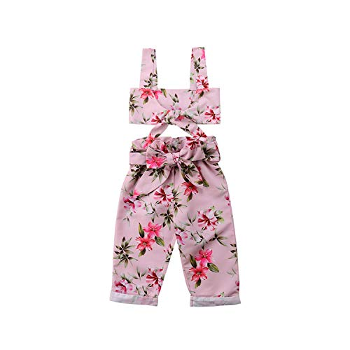 Kid Baby Girls Bow Sleeveless Tops Long Pants Outfits Cotton Beach Clothes Set 1-5T,3T