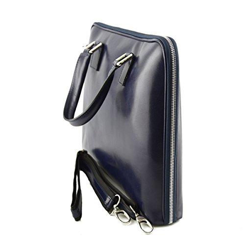 Echtes Leder Aktentasche Farbe Blau - Italienische Lederwaren - Aktentasche