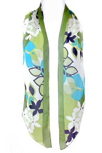 Imagine If-Skinny Scarf Belt Tie Hatband-Flower Power Greens Turquoise Olive Edge - Flower Power Fashion Belt