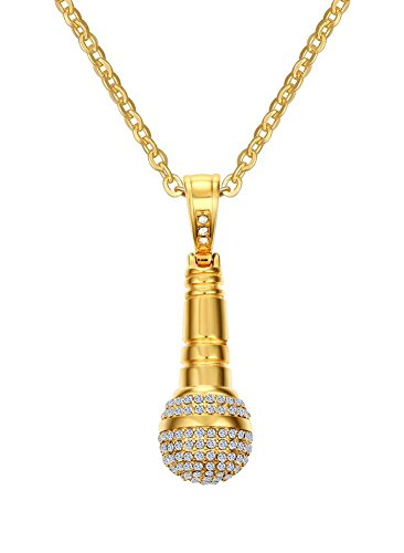 Mealguet Jewlery Stainless Steel Iced Out Cubic Zirconia CZ Music Karaoke Singer Microphone Pendant Necklace with Chain,Gold Plated