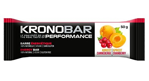 KRONOBAR Energy bar, 100% Natural Performance, Apricot Cranberry, 12 Count