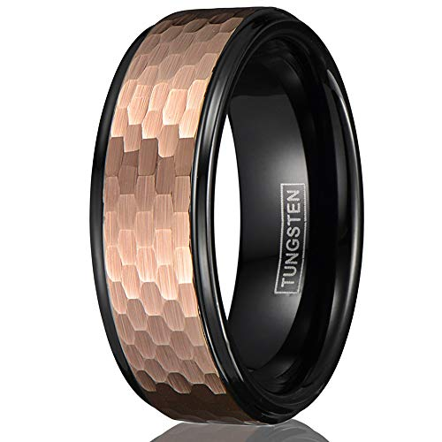 (Beautiful Contemporary 8mm Polished Piano Black Tungsten Carbide Band Ring with Brushed Satin Finish Rose Gold Honeycomb Outer Band. (Tungsten (8mm), 9))