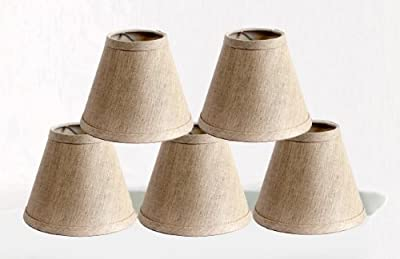 Urbanest Pure Linen Chandelier Lamp Shades, 6-inch, Hardback Clip On, Oatmeal(set of 5)
