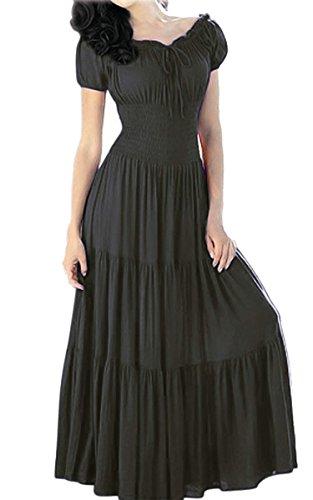 Womens Ladies New Tight Sexy Solid dress /Short Sleeve Bohemian Long Maxi Dress (Renaissance Dress Plus Size)