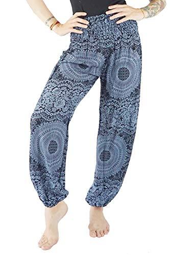 Boho Vib Women's Rayon Print Smocked Waist Boho Harem Yoga Pants (L/XL, Rose S Dark Blue)