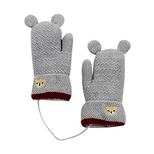 (Orityle Winter Knitted Warm Mittens Double-layer Fleece Lined Gloves with Cute Ear for Kid Girl Boy)